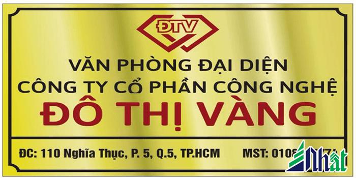 Làm bảng hiệu Inox cho khách hàng Đô Thị Vàng