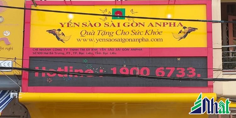 Bảng hiệu cửa hàng Yến Sào Sài Gòn An Pha