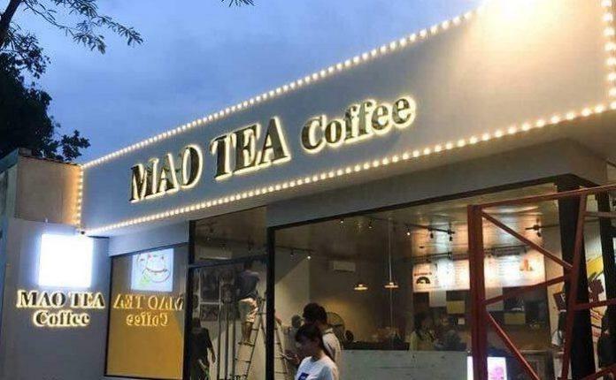 Mẫu bảng hiệu quán trà sữa làm bằng chất liệu Inox đẹp
